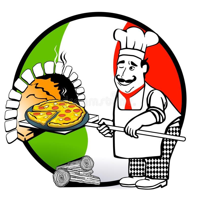 Pizza-Italiano stock de ilustración