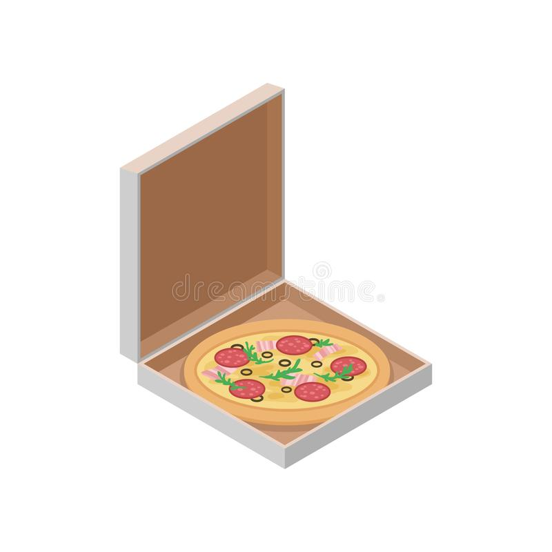 Pizza italienne délicieuse dans la boîte en carton Aliments de préparation rapide Icône isométrique de vecteur pour le site Web,  illustration stock