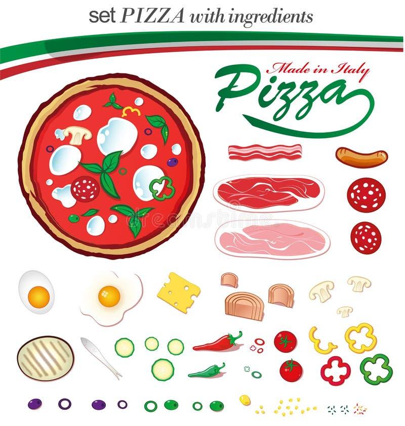 Pizza italienne figée avec des ingerdients illustration stock