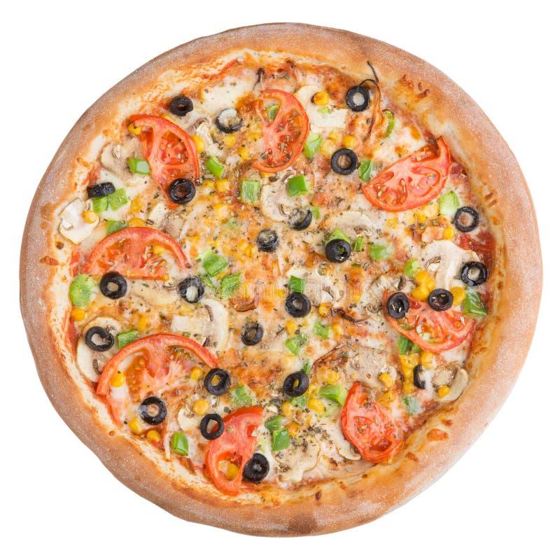Pizza italienne, vue supérieure, d'isolement sur le fond blanc d'isolement photographie stock