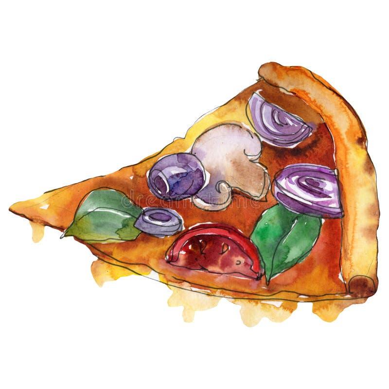 Pizza itallian de los alimentos de preparación rápida en un estilo de la acuarela aislada Ejemplo de la comida de la acuarela par stock de ilustración