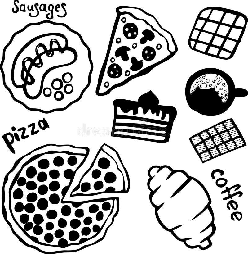 Pizza, kaffe och sötsaker som isoleras på vit bakgrund royaltyfri illustrationer
