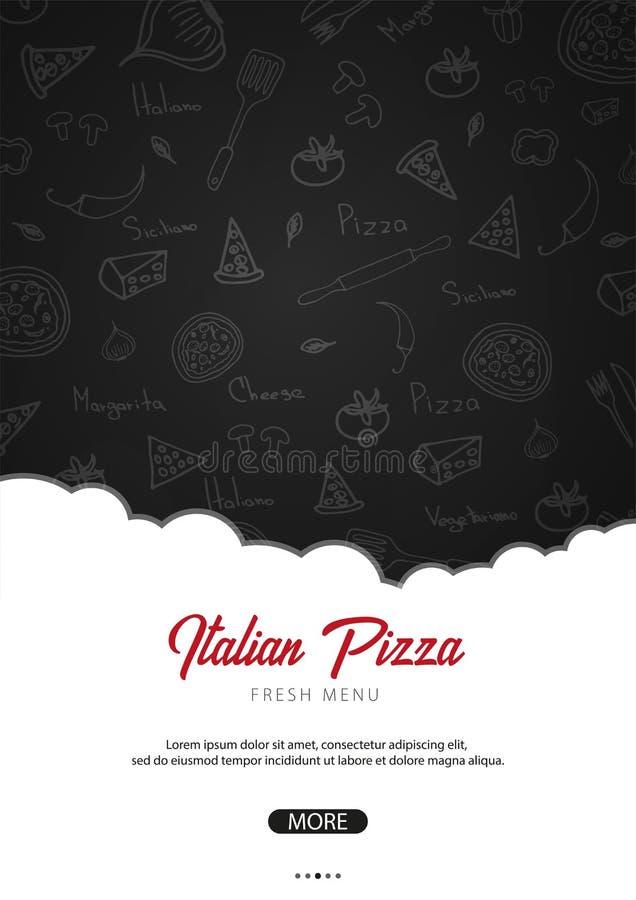 Pizza karmowy menu dla restauraci i kawiarni Plakat z pociągany ręcznie royalty ilustracja