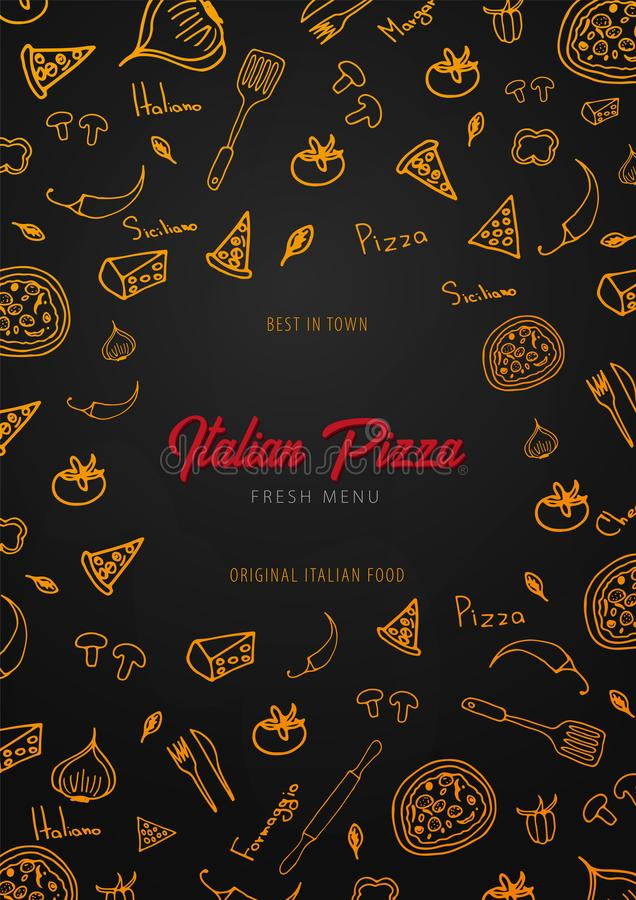 Pizza karmowy menu dla restauraci i kawiarni Projekta szablon z pociągany ręcznie graficznymi elementami w doodle stylu również z ilustracji