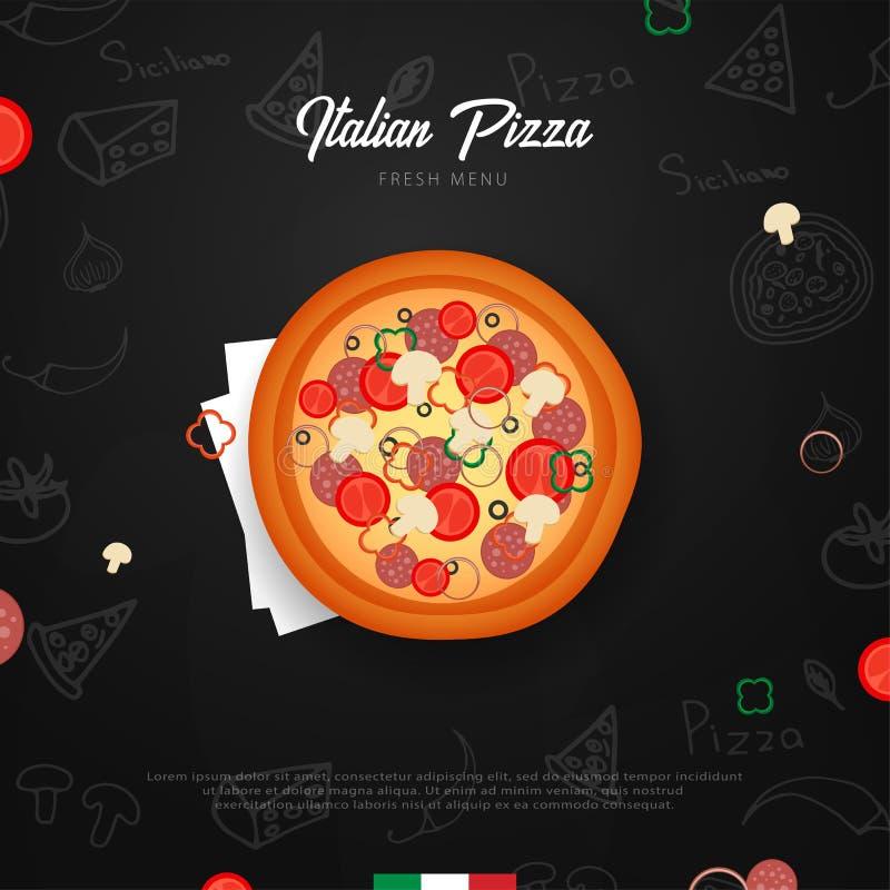 Pizza karmowy menu dla restauraci i kawiarni Projekta sztandar z pociągany ręcznie graficznymi elementami w doodle stylu również  ilustracji