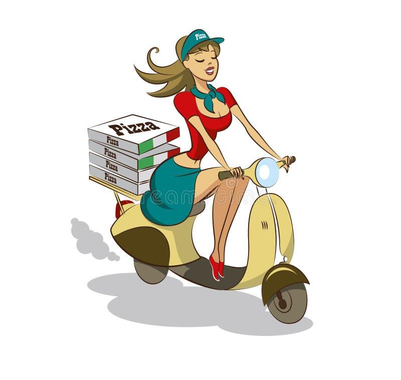 Pizza. Kobieta. Hulajnoga ilustracji