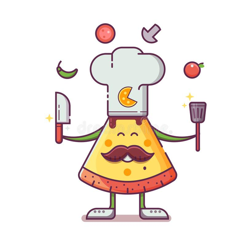 Pizza-Kocher-Maskottchen, wenn Hut gekocht wird lizenzfreie abbildung