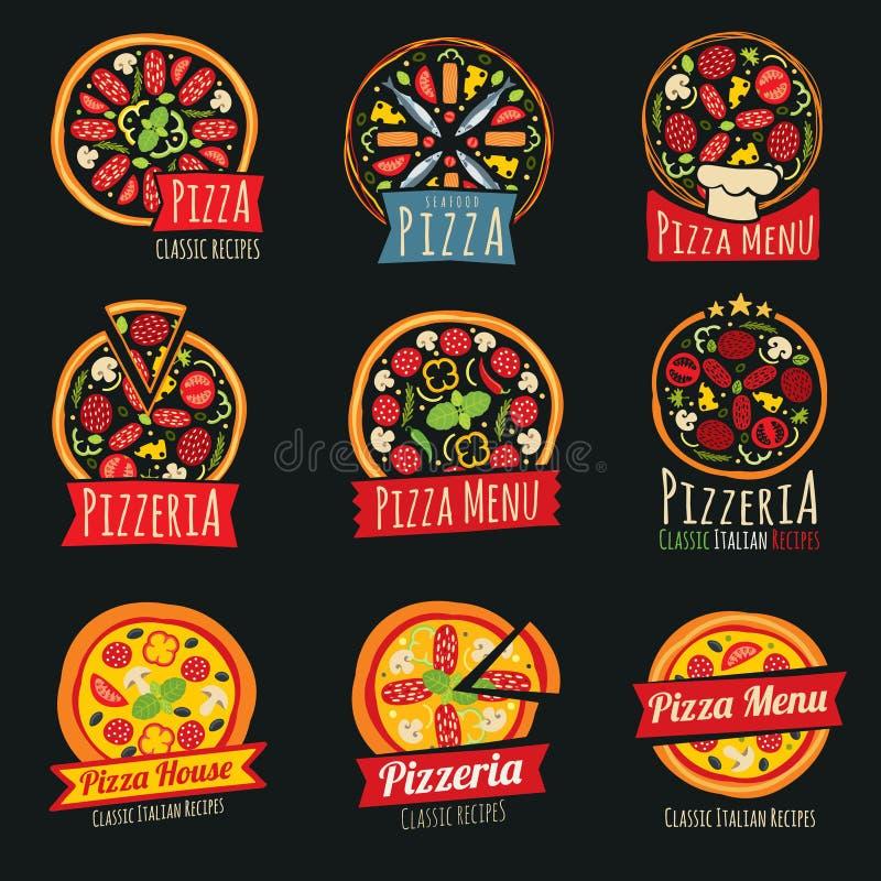 Pizza koloru etykietki odizolowywać Włoskie restauracyjne wektorowe odznaki i emblematy ilustracja wektor