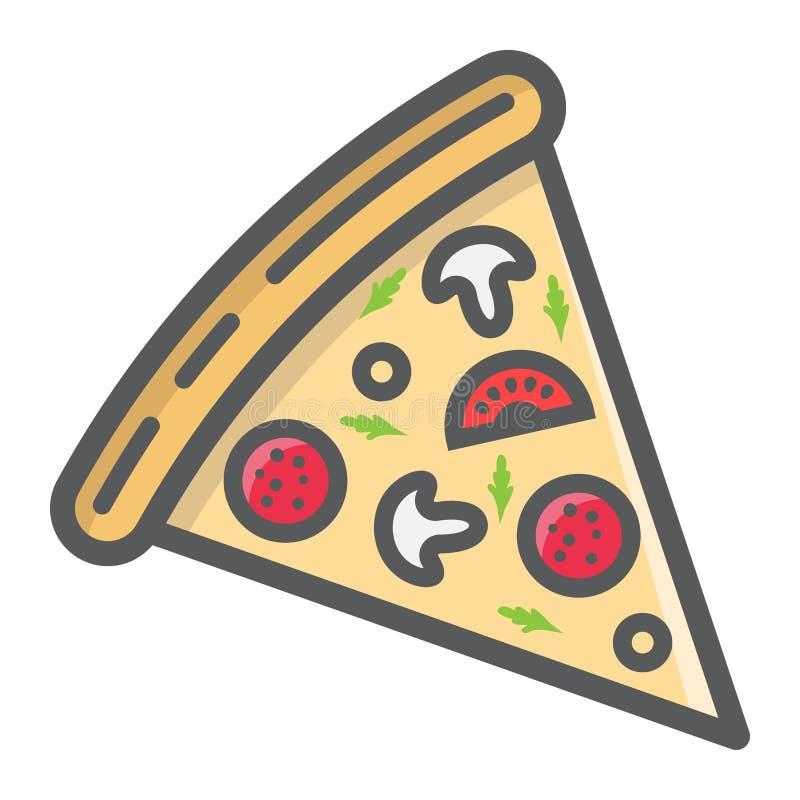 Pizza konturu plasterki wypełniający ikona, jedzenie i napój, royalty ilustracja