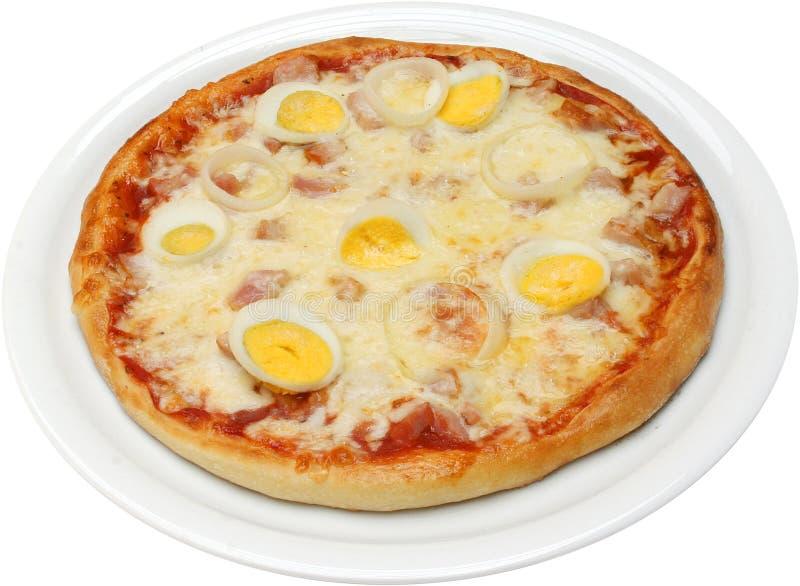 Pizza Koriola avec l'oeuf et le jambon de lard de fromage photographie stock libre de droits
