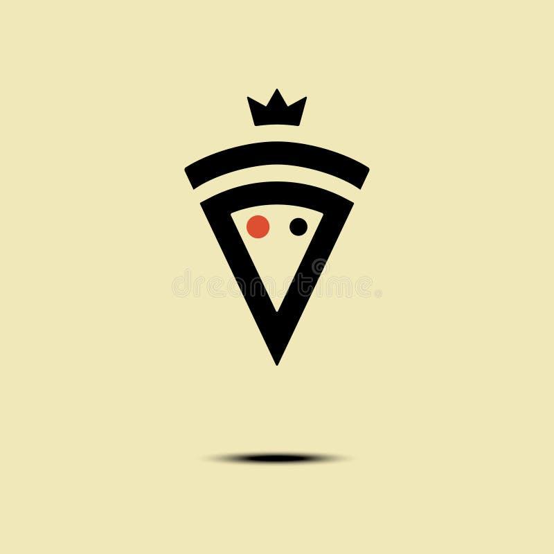 Pizza krönade logoen för vektorminimalismstil, symbolen, emblemet, tecken Beståndsdel för grafisk design med en skiva av pizza stock illustrationer