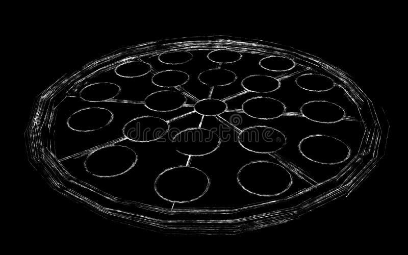 Pizza in krijt wordt getrokken dat vector illustratie
