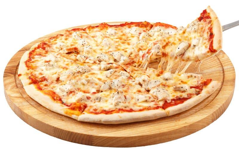Pizza kurczak, mozzarella, kurczak odizolowywający zdjęcie stock