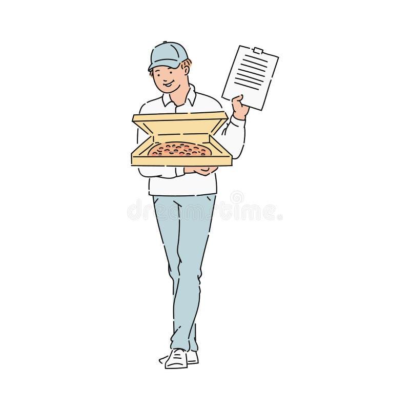 Pizza kurier w mundurze z kartonem lub royalty ilustracja