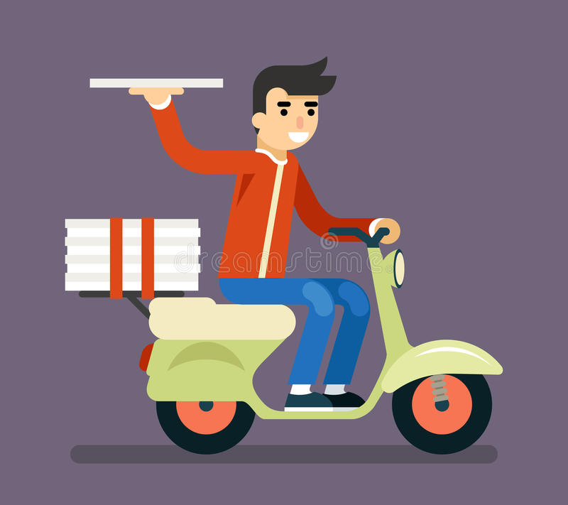 Pizza kuriera motocyklu hulajnoga pudełka symbolu ikony Doręczeniowy pojęcie ilustracja wektor