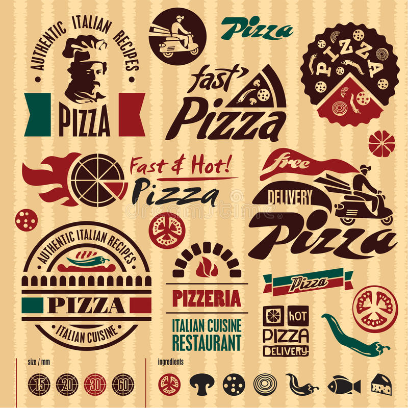 Pizza labels collection. royalty free illustration