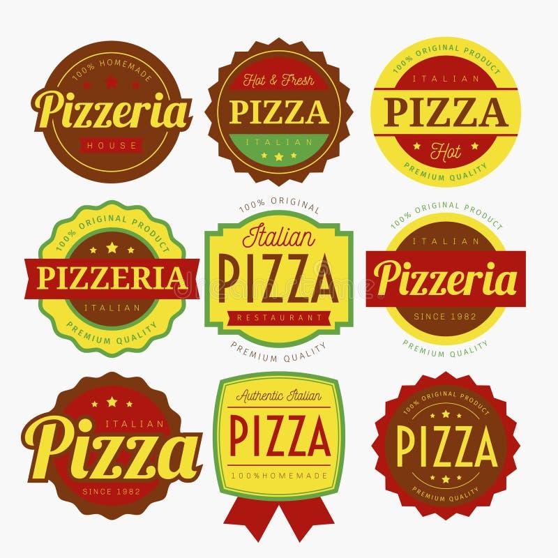 PIZZA LABELS VECTOR. PIZZA DESIGN LABELS VECTOR COLOR stock illustration