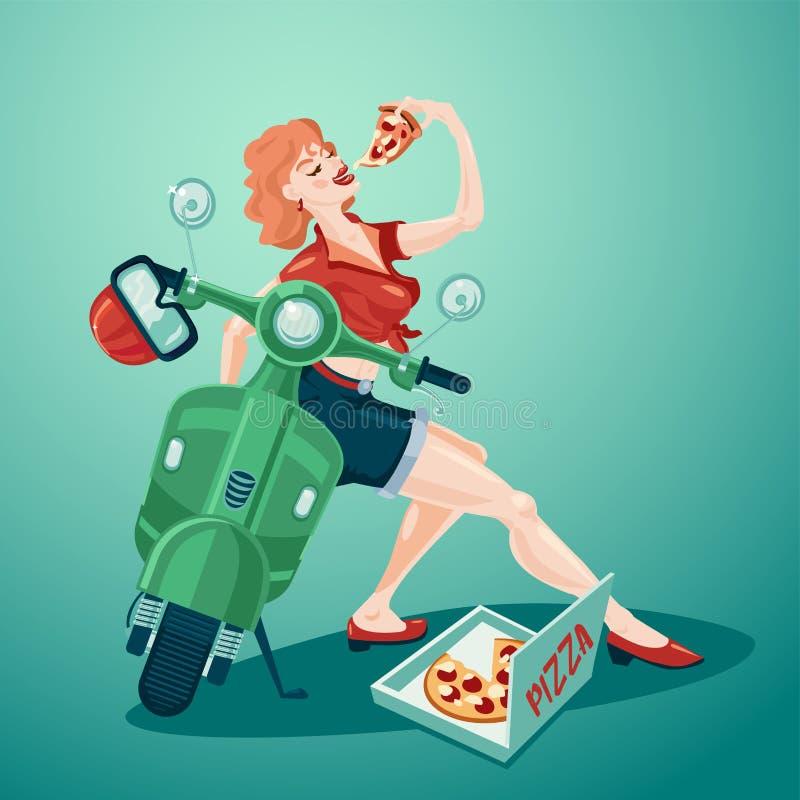 Pizza-leverans Fäst upp stiltjock ung flicka med scooter och pizza Bild på vindringsvektor stock illustrationer