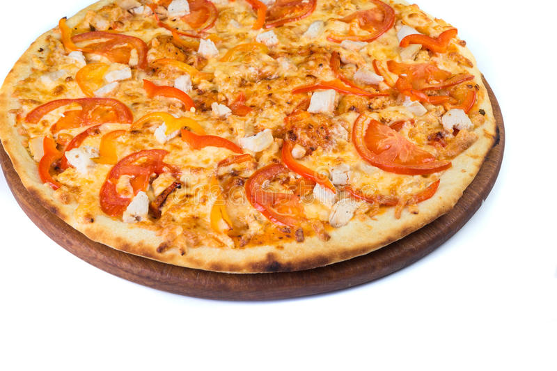 Pizza on light wooden. Background top view stock photos