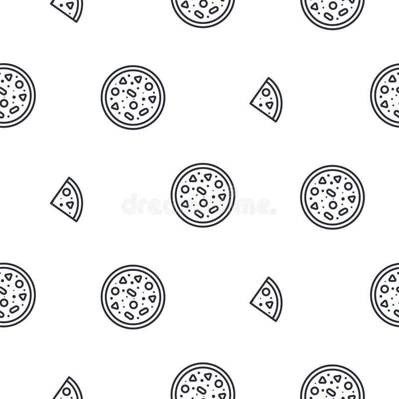 Pizza line icon seamless vector pattern. Fast food outline tileable white monochrome background royalty free illustration