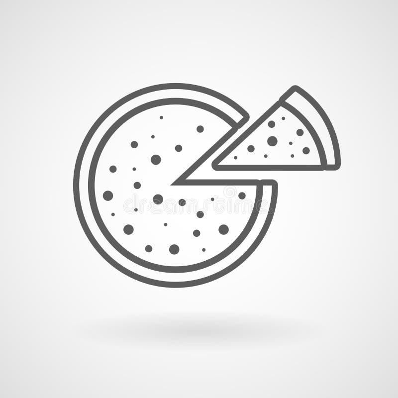 Pizza line icon on white background, vector. Illustration, eps file royalty free illustration