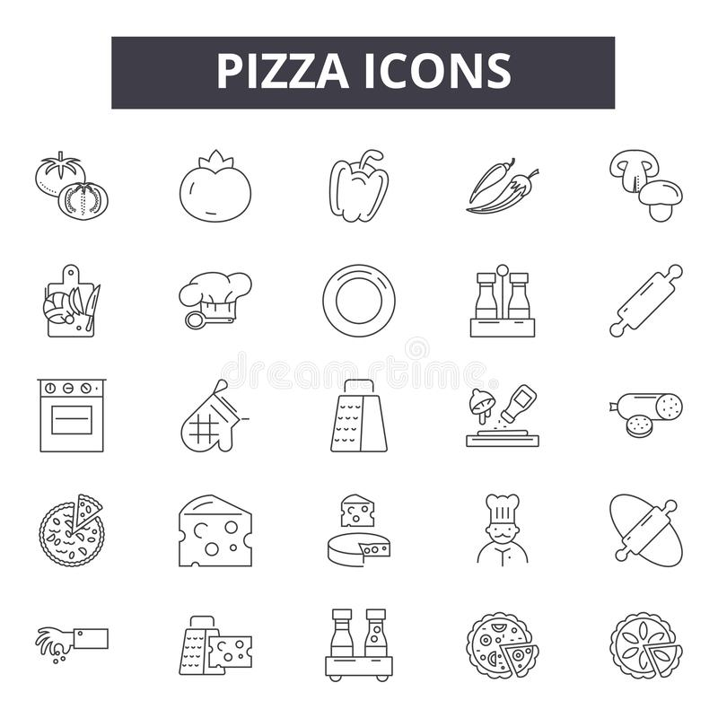 Pizza line icons, signs, vector set, outline illustration concept vector illustration