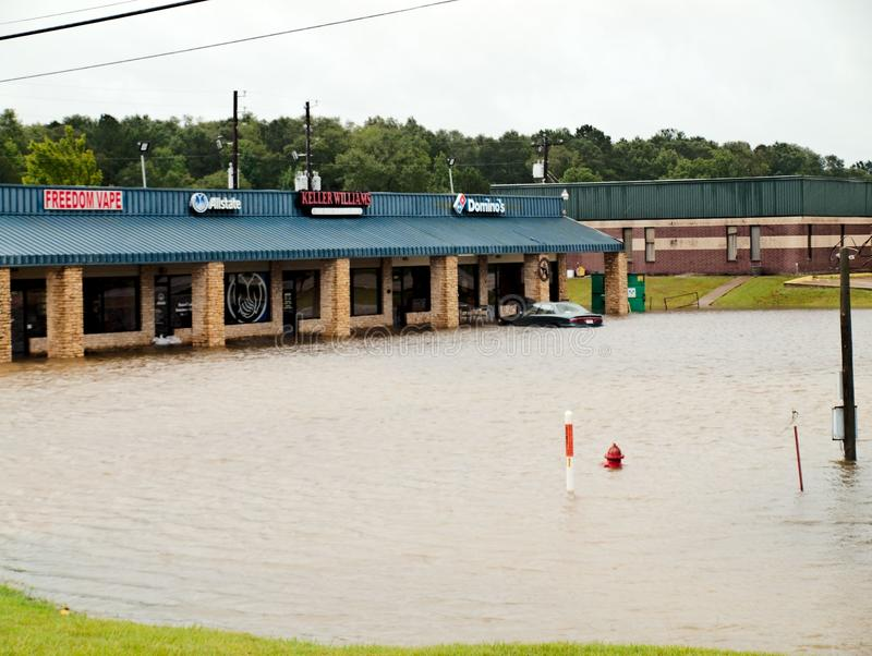 Pizza Livingston Texas Flooding Hurricane Harvey dos dominós imagens de stock