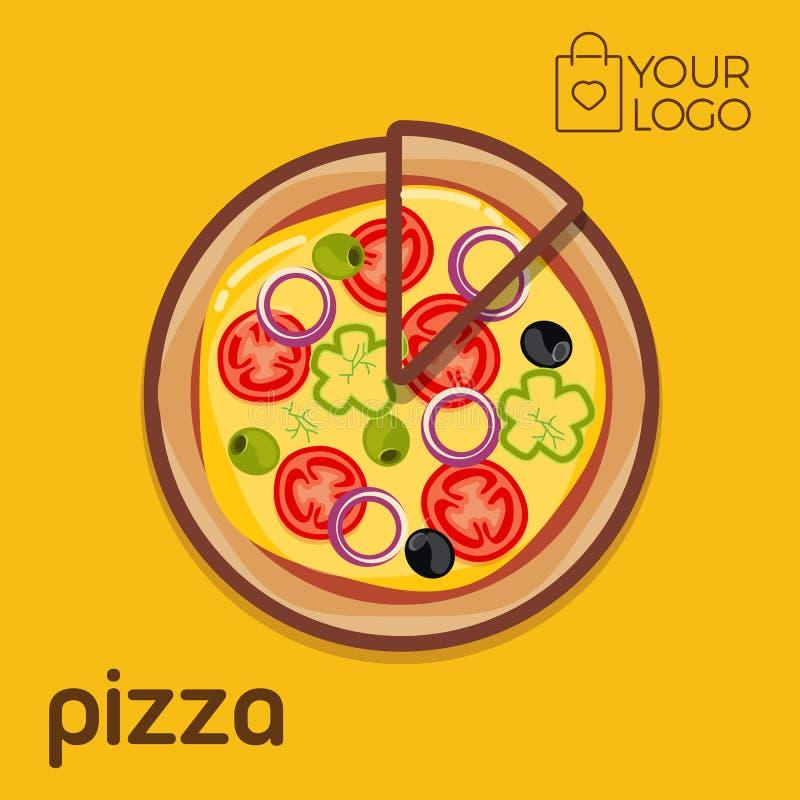 Pizza Logo icon flat design, Vector illustration banner royalty free illustration
