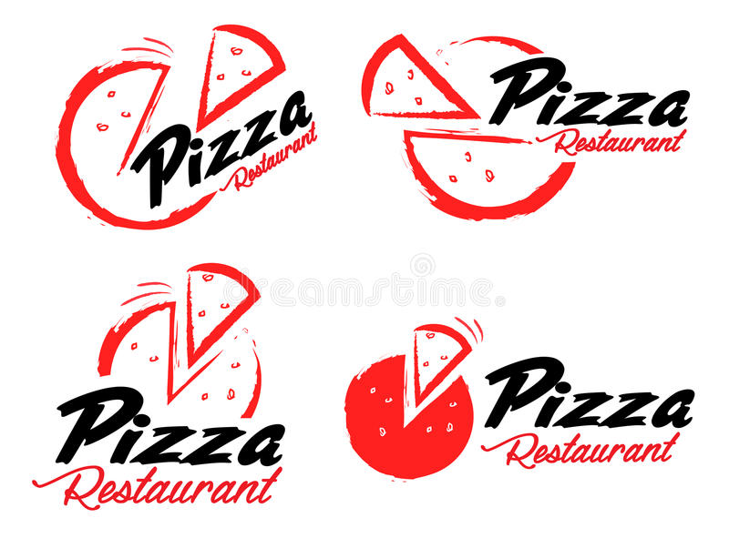 Pizza Logo. An illustration representing an abstract pizza logo with pizza slice and sample text