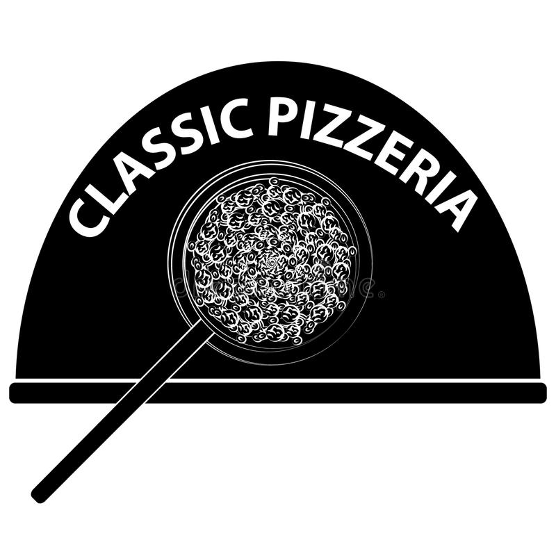 Pizza logo isolated on white backgroun. Food and cookingg. Pizza logo isolated on white backgroun. Food and cooking. Vector illustration royalty free illustration