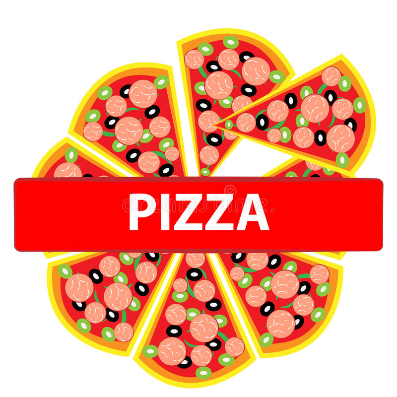 Pizza logo isolated on white backgroun. Food and cookingg. Pizza isolated on white backgroun. Food and cooking. Vector illustration stock illustration