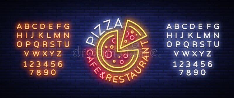 Pizza logo w neonowym stylu Neonowy znak, emblemat na Włoskim jedzeniu Pizzy kawiarnia, restauracja, fast food, jadalnia, pizzeri ilustracji