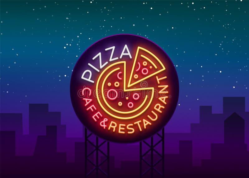 Pizza logo w neonowym stylu Neonowy znak, emblemat na Włoskim jedzeniu Pizzy kawiarnia, restauracja, fast food, jadalnia, pizzeri royalty ilustracja