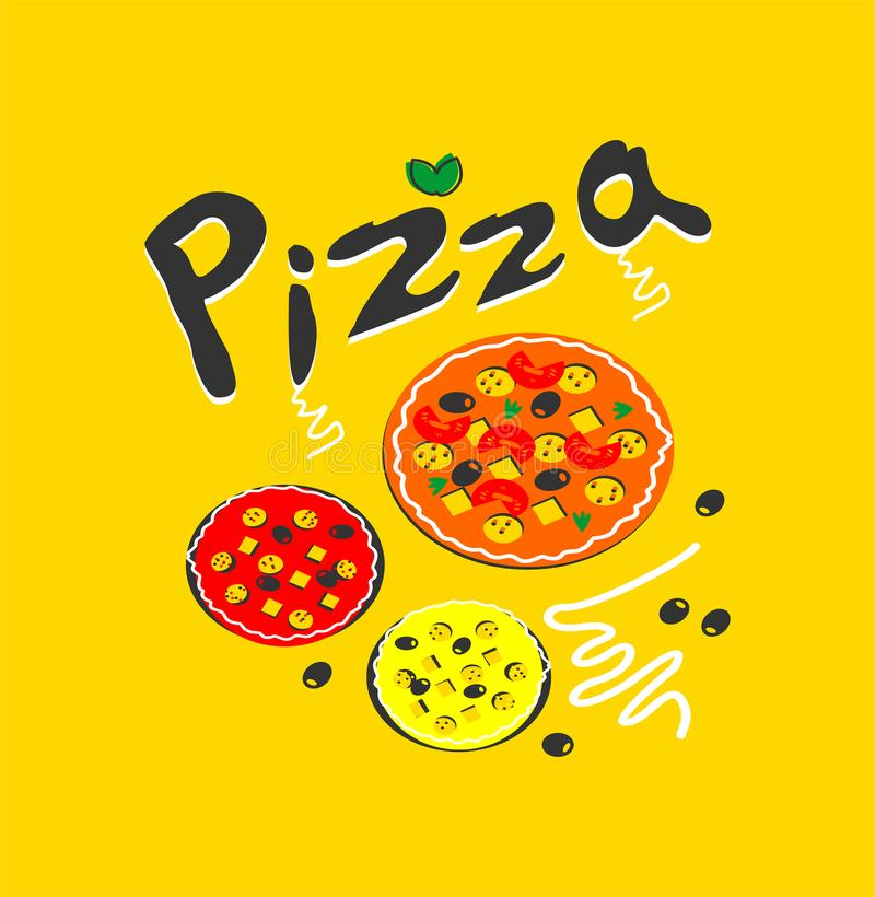 pizza logoen, mat, stiliserade, pizzeria, kafét, ljust, färgat, smakligt som var läckert, snabbmat royaltyfri illustrationer