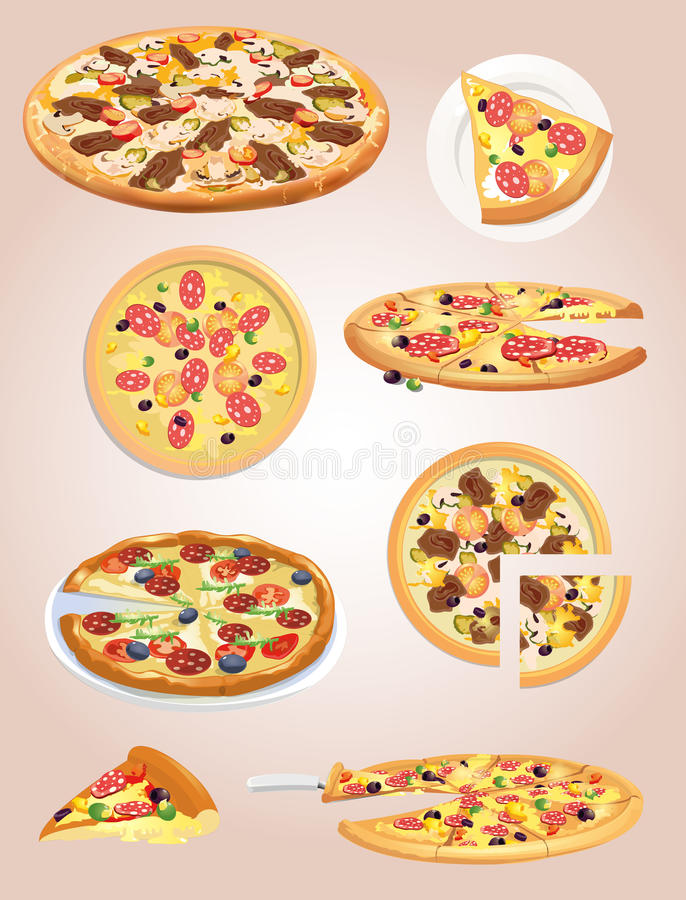 Pizza. It is a lot of options of pizza gathered stock illustration