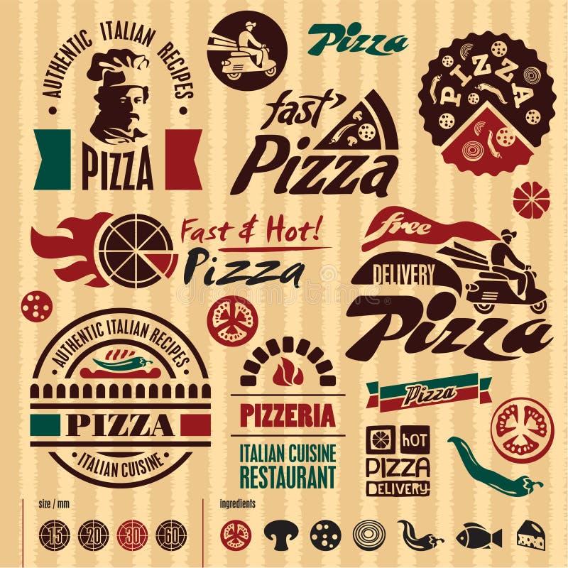 Pizza märker samlingen. royaltyfri illustrationer