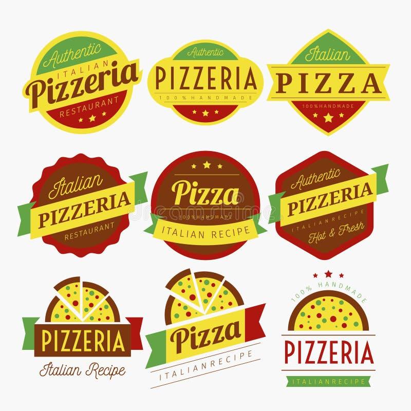PIZZA M?RKER VEKTORN vektor illustrationer