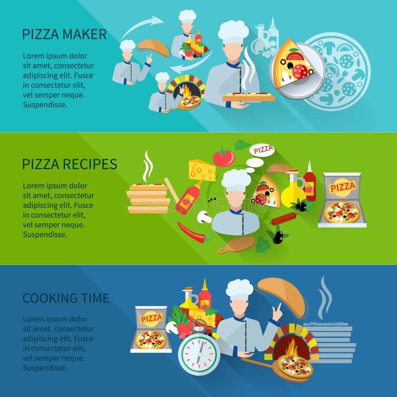 Pizza Maker Banner. Pizza maker flat horizontal banner set with recipes cooking time vector illustration stock illustration
