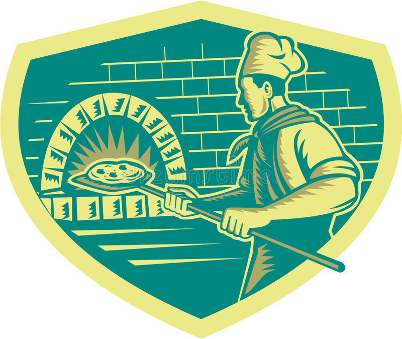 Pizza Maker Holding Peel Crest Woodcut. Illustration of a baker pizza maker holding a peel with pizza pie into a brick oven viewed from side set inside shield vector illustration