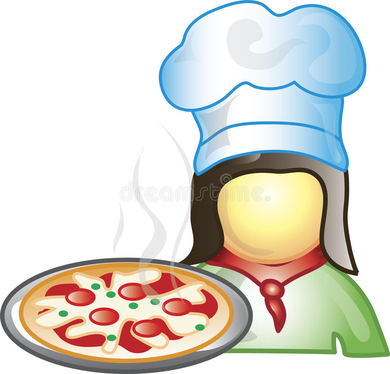Pizza Maker Icon. Illustration of a pizza maker icon with a pepperoni pizza. This icon is part of the food industry icon collection stock illustration