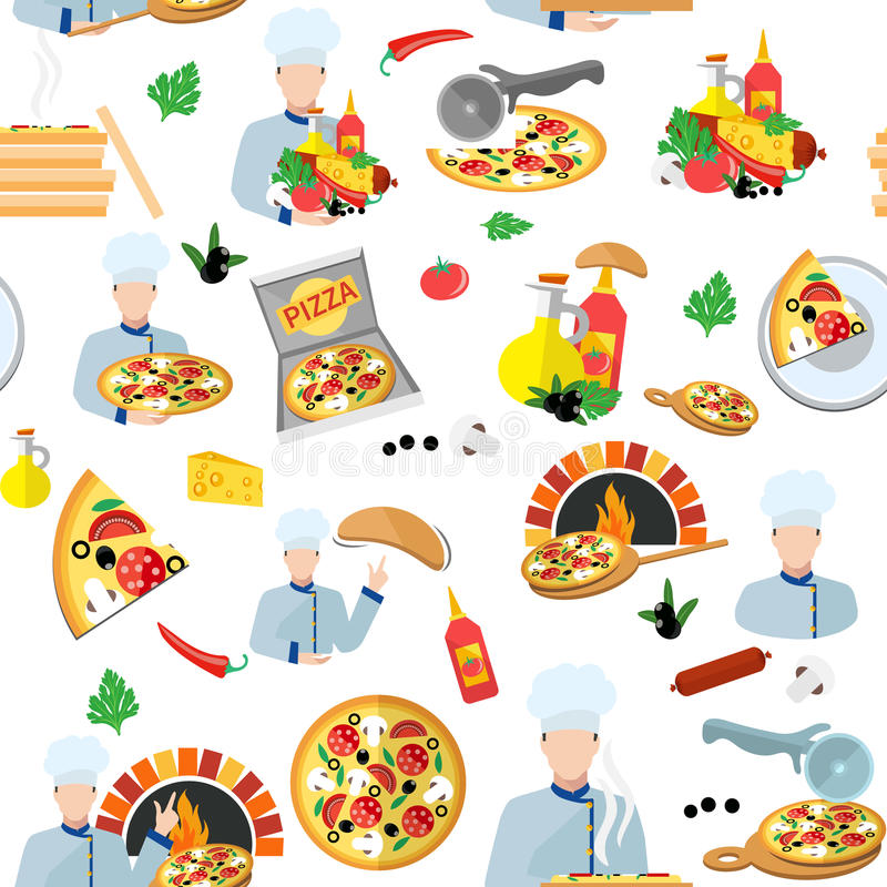 Pizza Maker Seamless Pattern. With fresh food box and chef cook vector illustration stock illustration