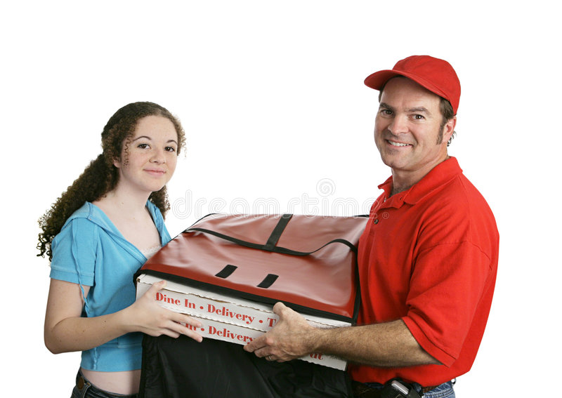 Download Pizza Man & Customer stock image. Image of receiving, isolated - 1518121