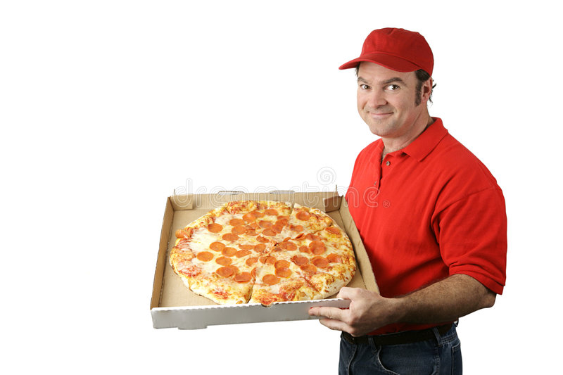 Pizza Man Delivers. A pizza delivery man holding a hot, fresh pepperoni pizza. Isolated on white stock photography