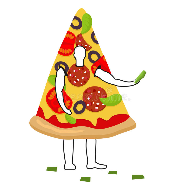Free Pizza Man Mascot Promoter. Male In Suit Slice Distributes Flyers Royalty Free Stock Photo - 78979605