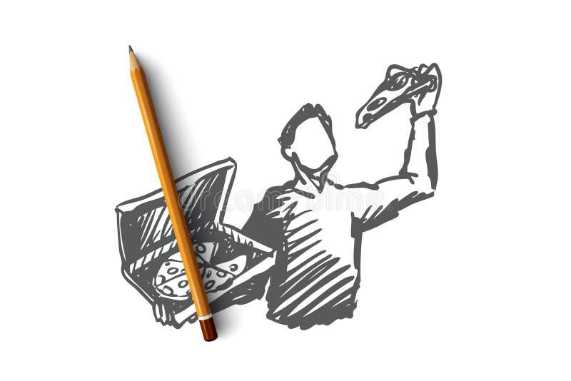 Pizza man, matställe, mat, italienskt begrepp Hand dragen isolerad vektor vektor illustrationer