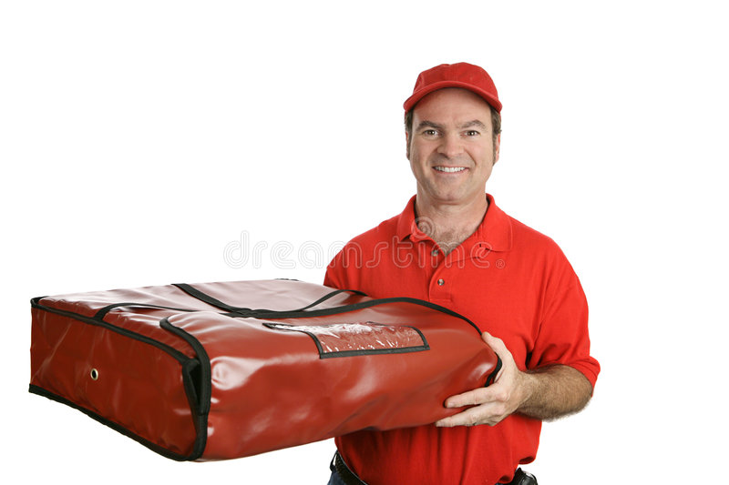 Pizza Man & Thermal Bag. A pizza delivery man carrying a thermal pizza delivery bag to hold in the heat. Isolated on white stock photo