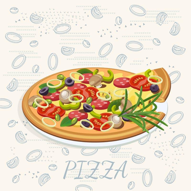 Pizza Manifesto della pizzeria per il menu royalty illustrazione gratis