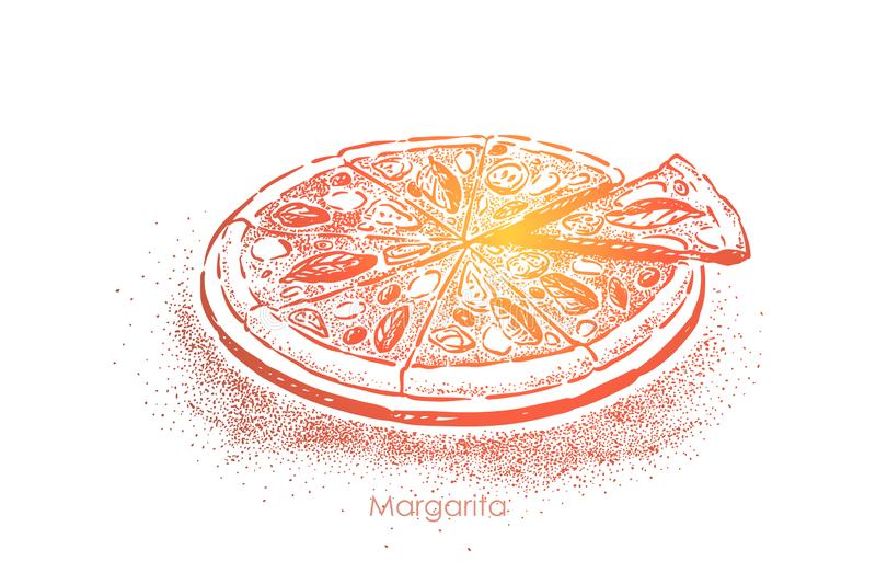 Pizza margarita, delicious meal with tomatoes, mozzarella cheese, salt and olive oil, delicious snack. Traditional italian lunch, fast food concept sketch royalty free illustration