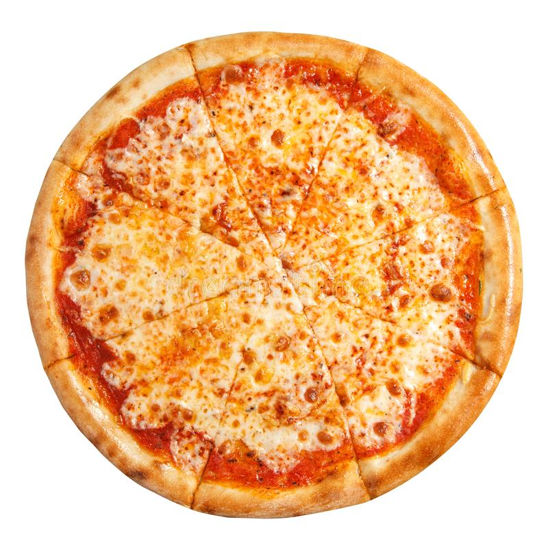 Pizza Margarita met kaas hoogste die mening op witte achtergrond wordt geïsoleerd stock afbeelding