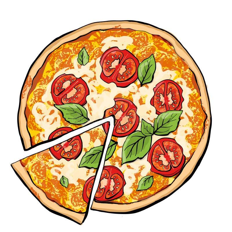 Pizza Margarita met plak vector illustratie